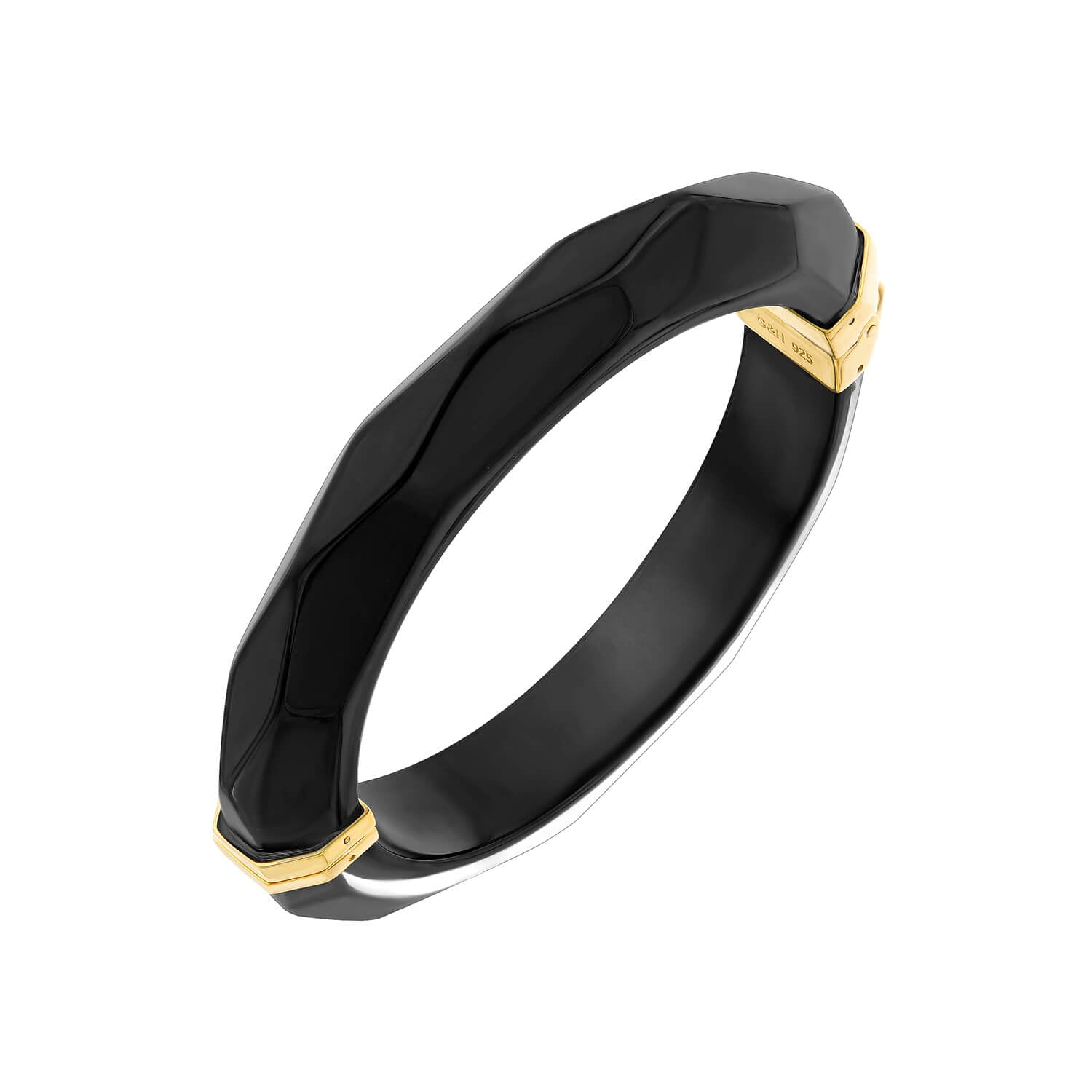 Thin Faceted Lucite Bangle BLACK