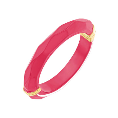 Thin Faceted Lucite Bangle PINK PEACOCK