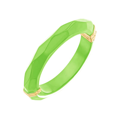 Thin Faceted Lucite Bangle NEON GREEN