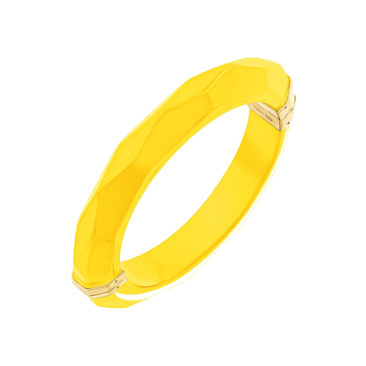 Thin Faceted Lucite Bangle YELLOW
