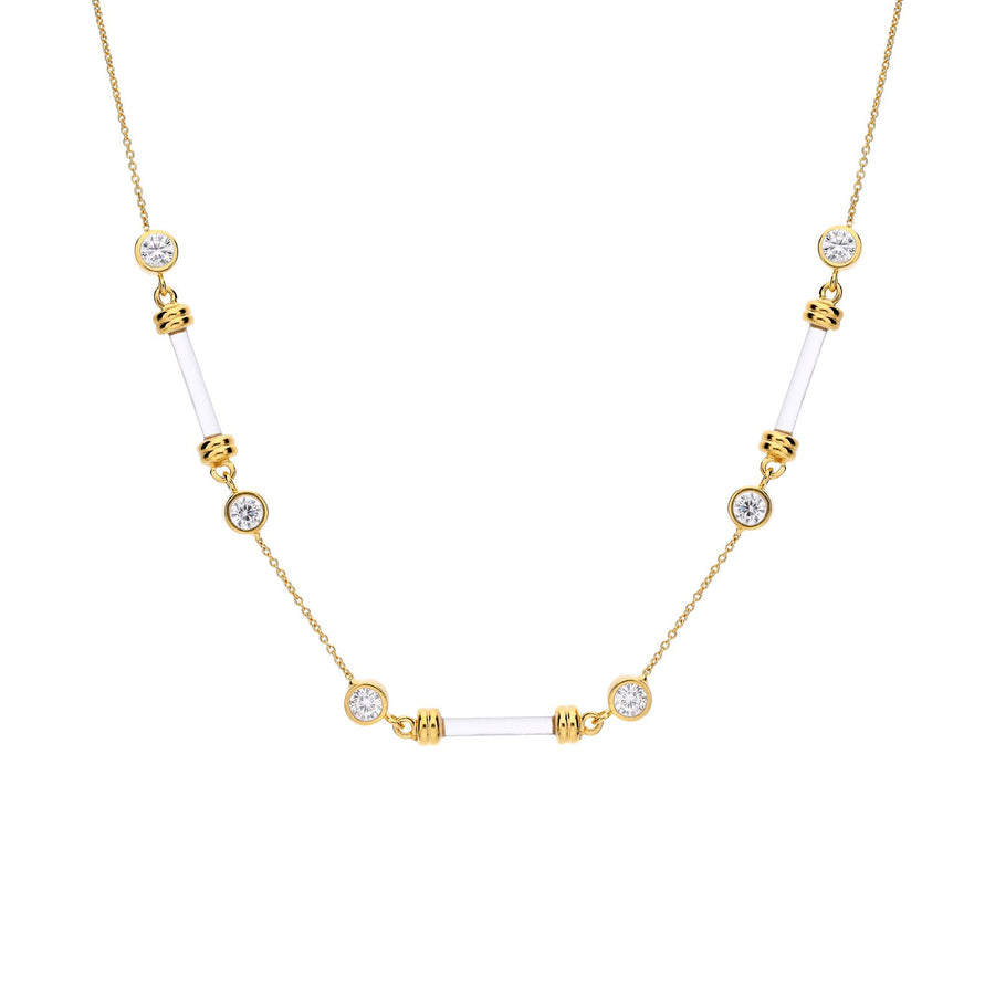 Dainty Bar and CZ Lucite Necklace
