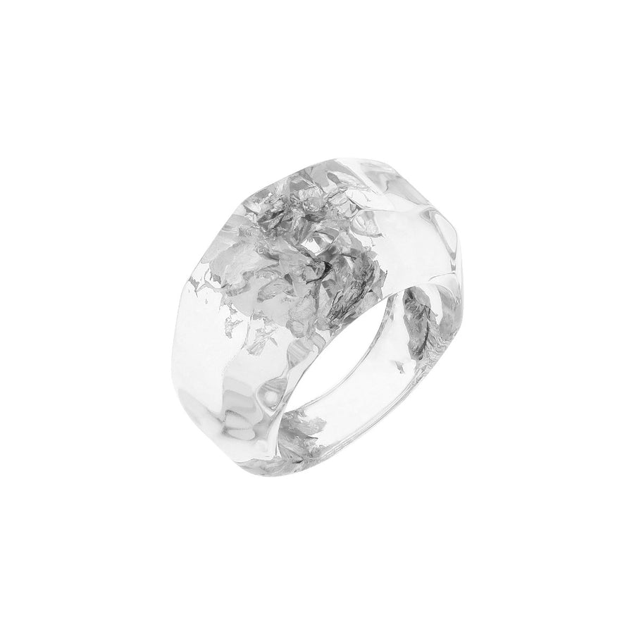 Clear Lucite Ring with Silver Leaf