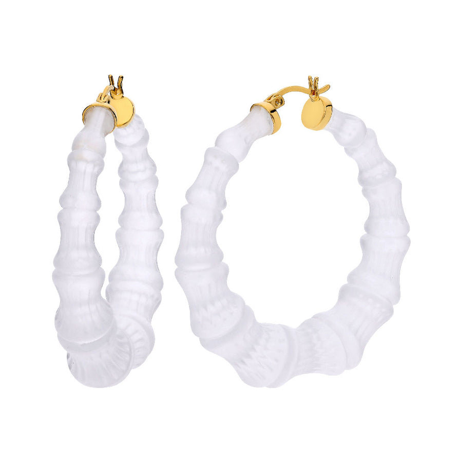 Frosted Lucite Bamboo Hoops