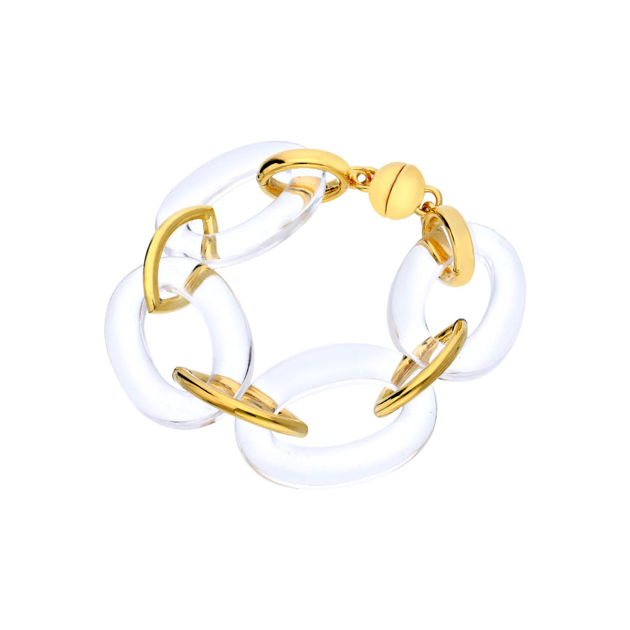 Clear and Gold Plated Oval & Marquis Lucite Bracelet