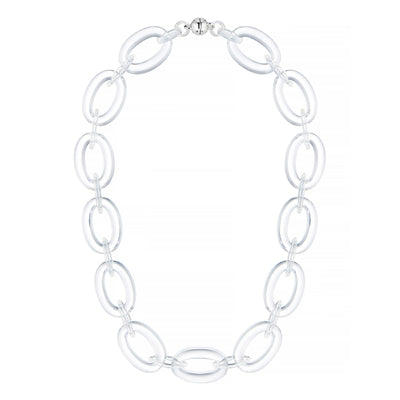Clear Oval & Marquise Lucite Necklace FROSTED