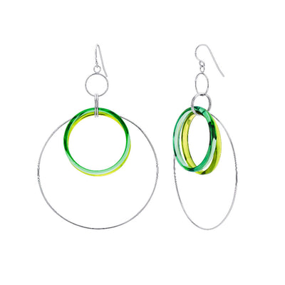 Double Green Lucite and Silver Hoop Drop Earrings