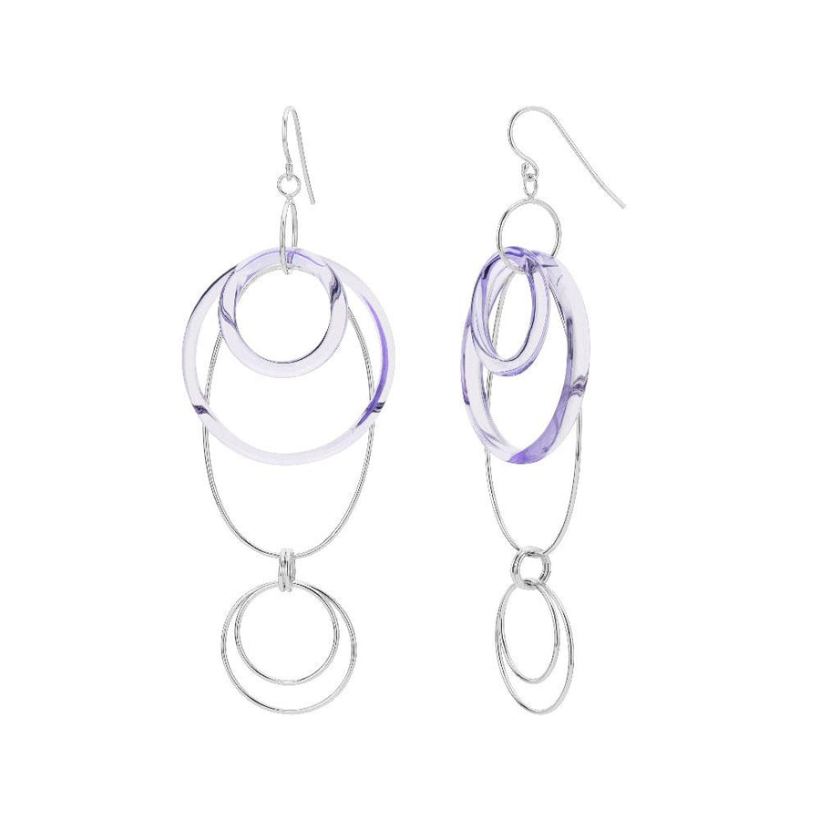 Purple Lucite and Silver Oval Drop Earrings