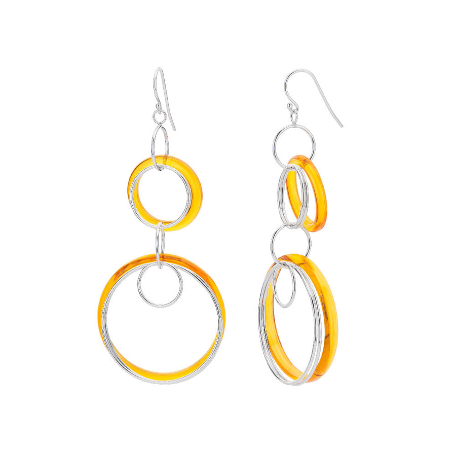 Orange Lucite and Silver Drop Earrings