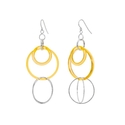 Yellow Lucite and Silver Axis Drop Earrings