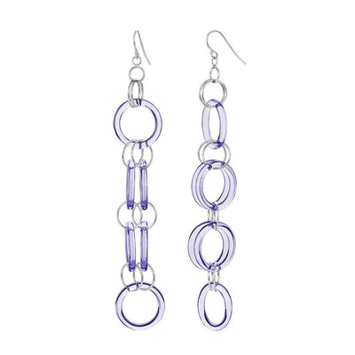 Purple Lucite and Silver Drop Earrings