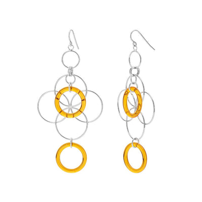 Orange Lucite and Silver Floral Drop Earrings