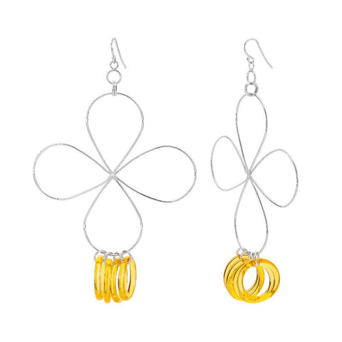 Yellow Lucite and Silver Flower Drop Earrings
