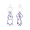 Purple Lucite and Silver Mixed Drop Earrings