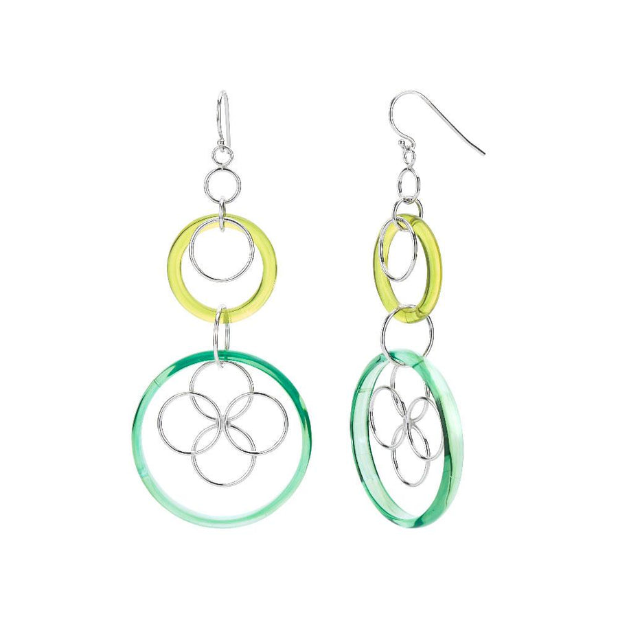 Green Lucite and Silver Floral Drop Earrings