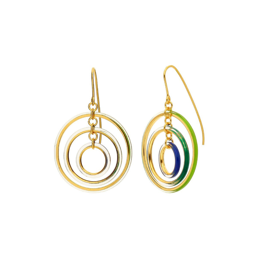 Thin Tri-Color Drop Lucite Earrings