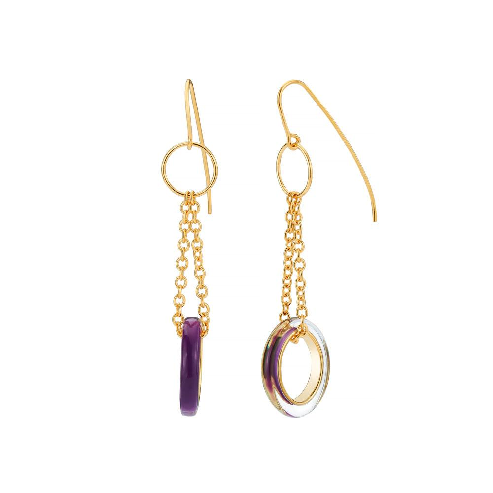 Thin Drop Lucite Earrings with Chain