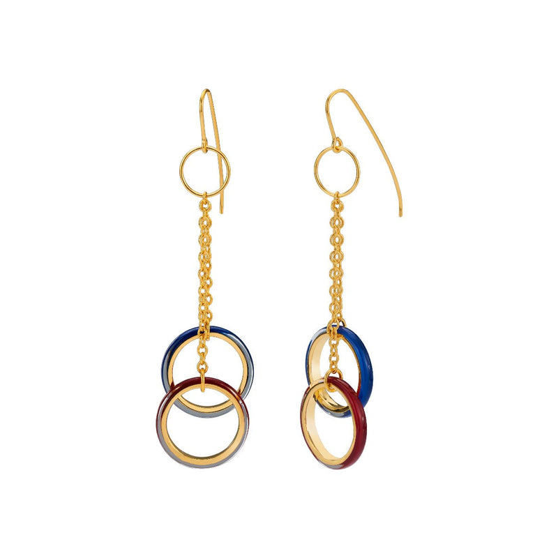 Thin Double Drop Lucite Earrings with Chain