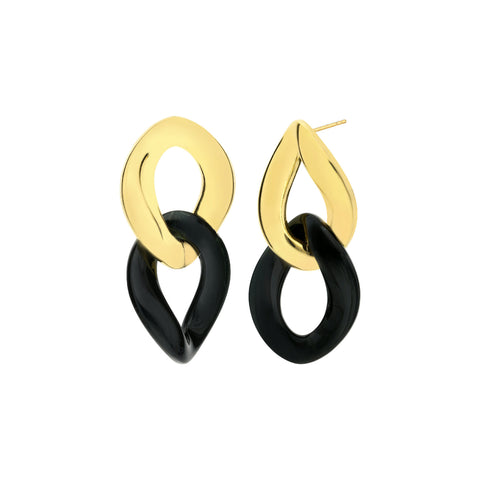 Black Extra Large Curb Link Lucite Earrings