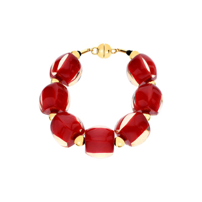 Beaded Lucite Bracelet RED