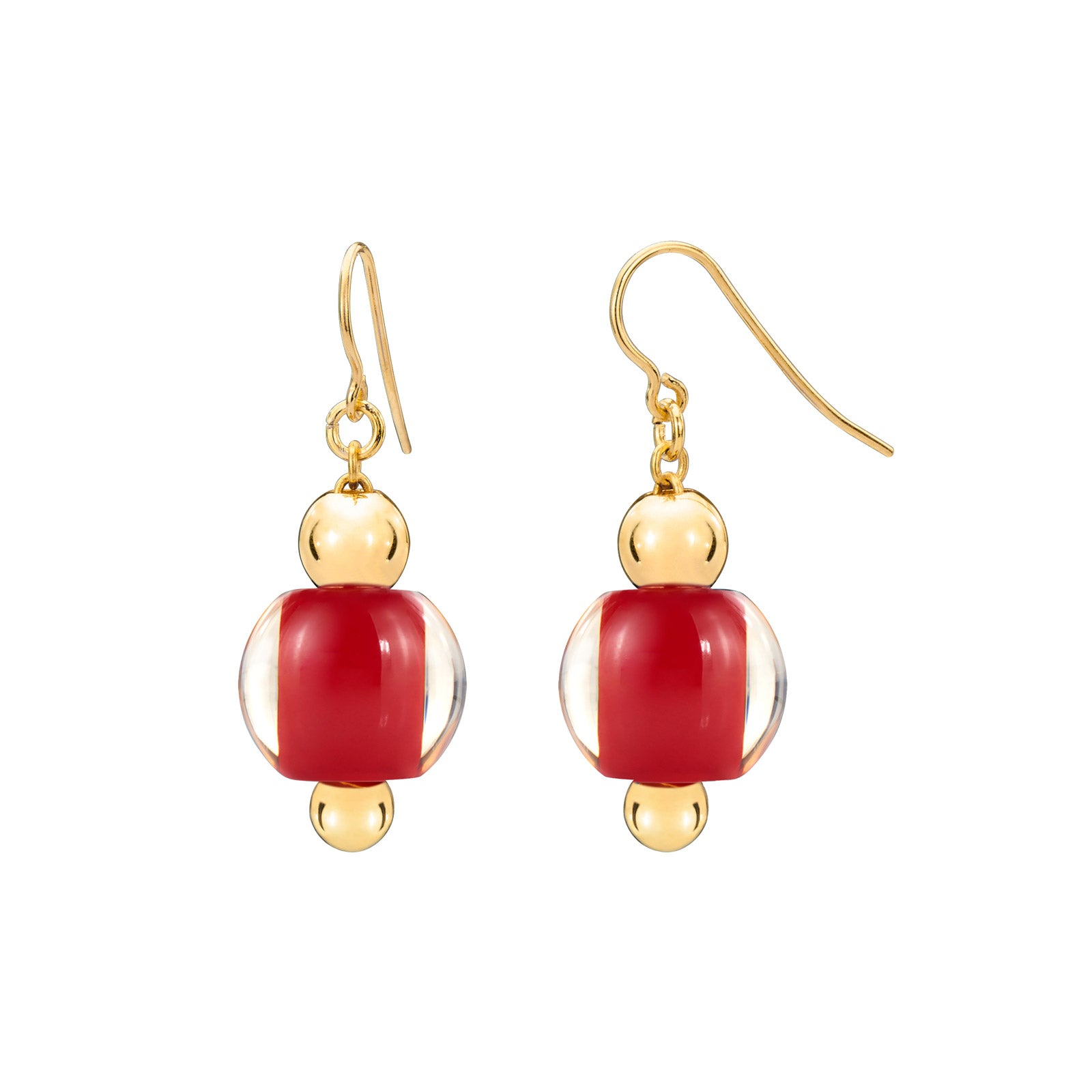 Mini Lucite Bead Earrings RED
