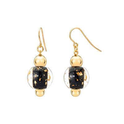 Mini Bead Lucite Earrings with Gold Flakes Black