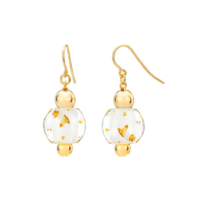 Mini Bead Lucite Earrings with Gold Flakes White