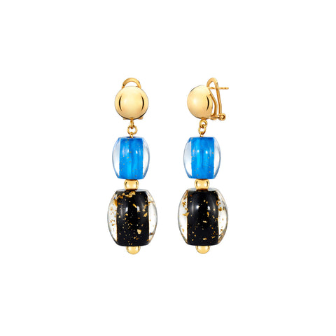 Drop Bead Lucite Earrings with Gold Flakes BLUE