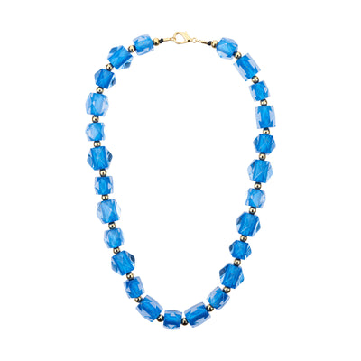 Hexagon Beaded Lucite Necklace BLUE