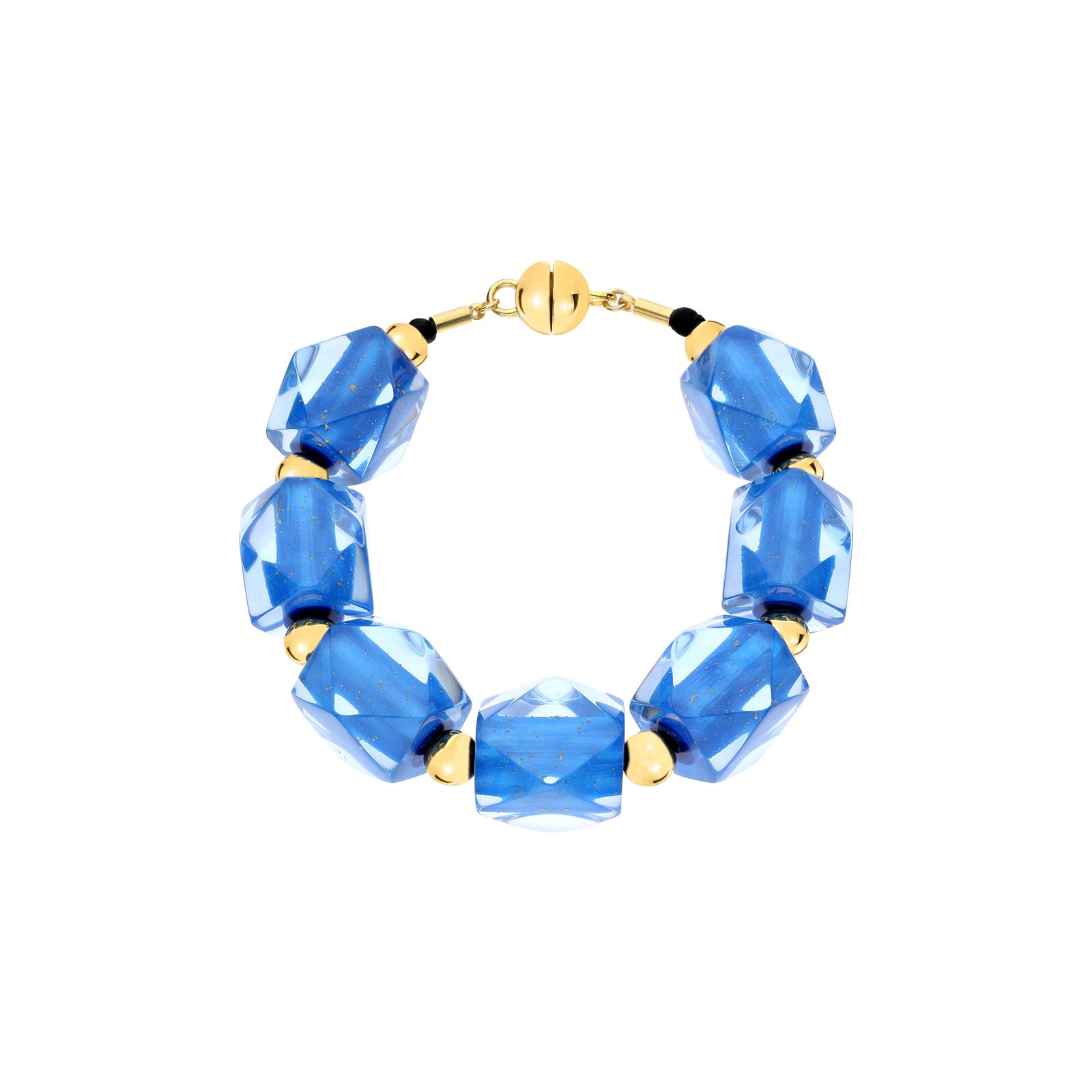 Hexagon Beaded Lucite Bracelet BLUE