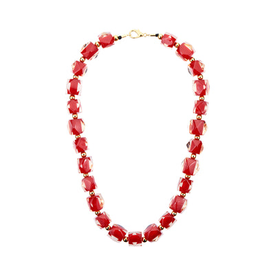Hexagon Beaded Lucite Necklace RED