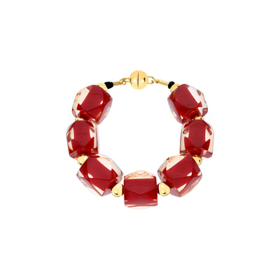Hexagon Beaded Lucite Bracelet RED
