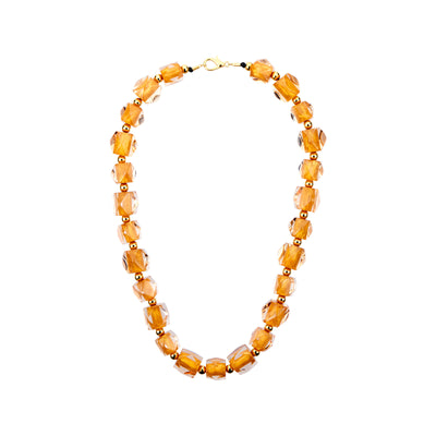 Hexagon Beaded Lucite Necklace GOLD