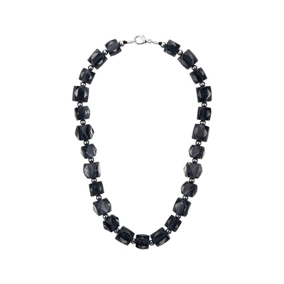 Hexagon Beaded Lucite Necklace BLACK SILVER