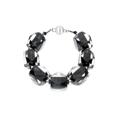 Hexagon Beaded Lucite Bracelet BLACK