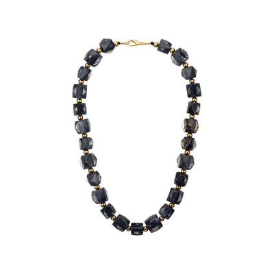 Hexagon Beaded Lucite Necklace BLACK GOLD