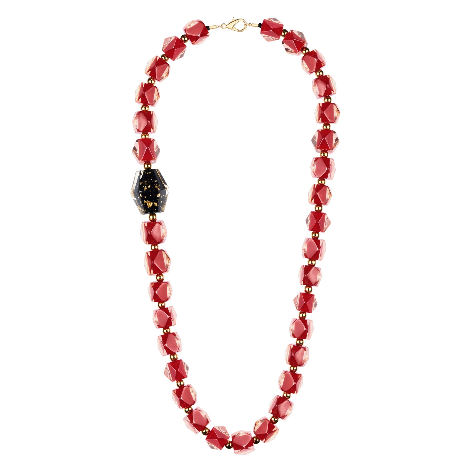 Offset Hexagon Beaded Lucite Necklace RED