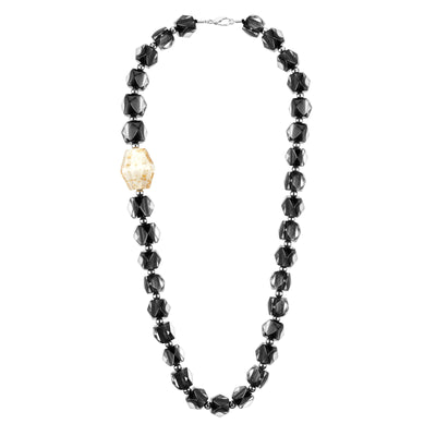 Offset Hexagon Beaded Lucite Necklace BLACK