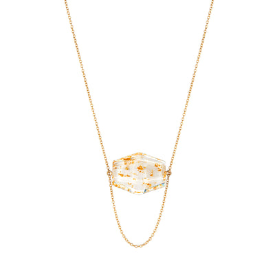 Large Hexagon Solitaire Lucite Necklace WHITE