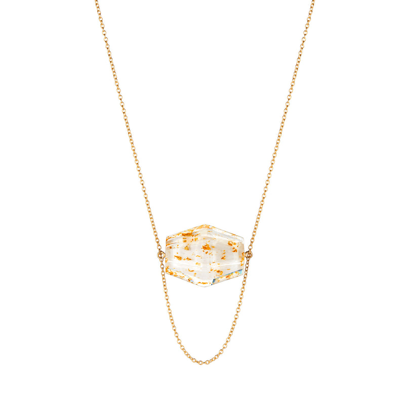 Large Hexagon Solitaire Lucite Necklace with Gold Flake