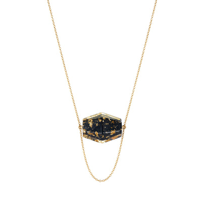 Large Hexagon Solitaire Lucite Necklace BLACK