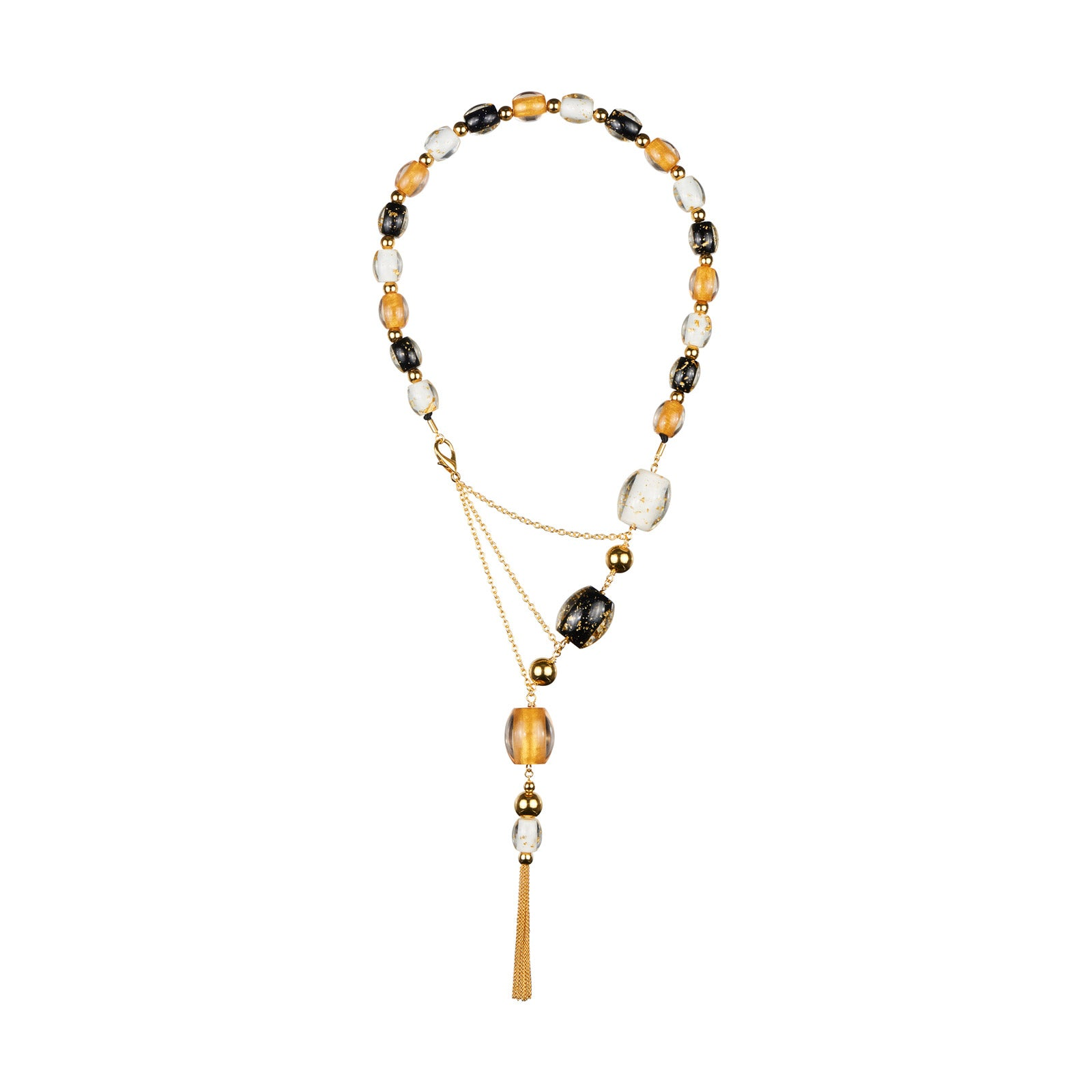 Asymmetric Statement Assorted Lucite Necklace with Tassels