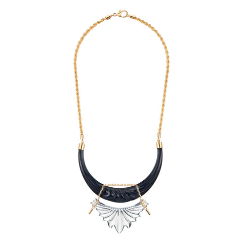 Sculpted Collar Lucite Necklace BLACK