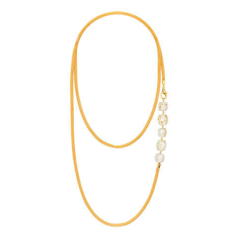 Wrap Around Chain and Lucite Necklace WHITE