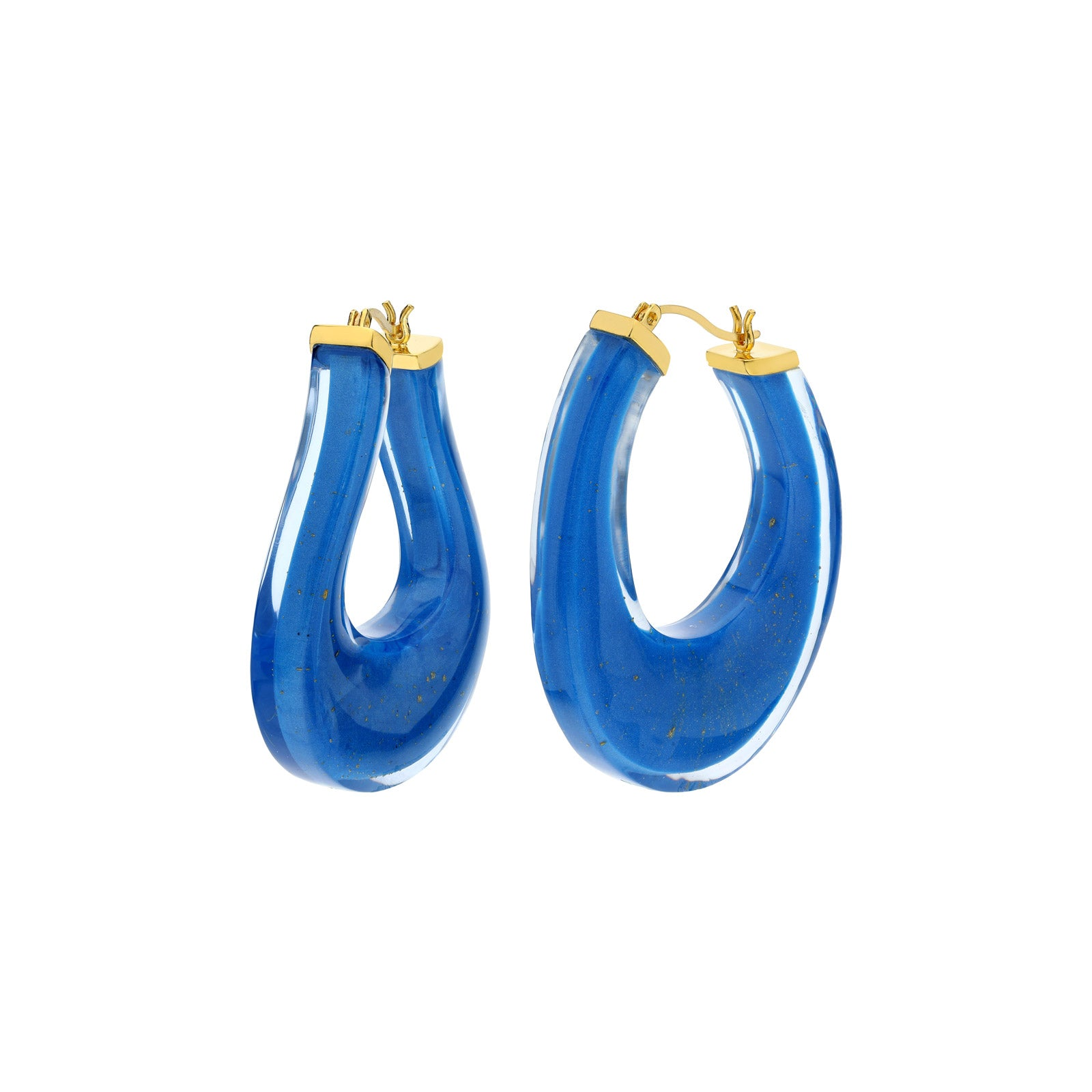 Medium Twisted Horseshoe Lucite Hoops BLUE