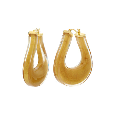 Medium Twisted Horseshoe Lucite Hoops GOLD