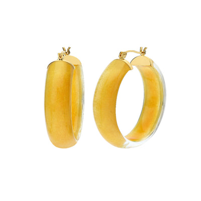 Small Illusion Lucite Hoops - GOLDEN