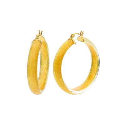 Large Illusion Lucite Hoops - GOLDEN THIN