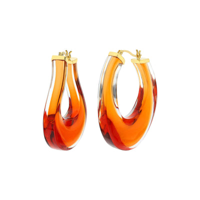 Medium Twisted Horseshoe Amber Lucite Hoops