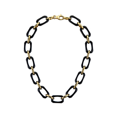 Rectangle Link Lucite Necklace BLACK