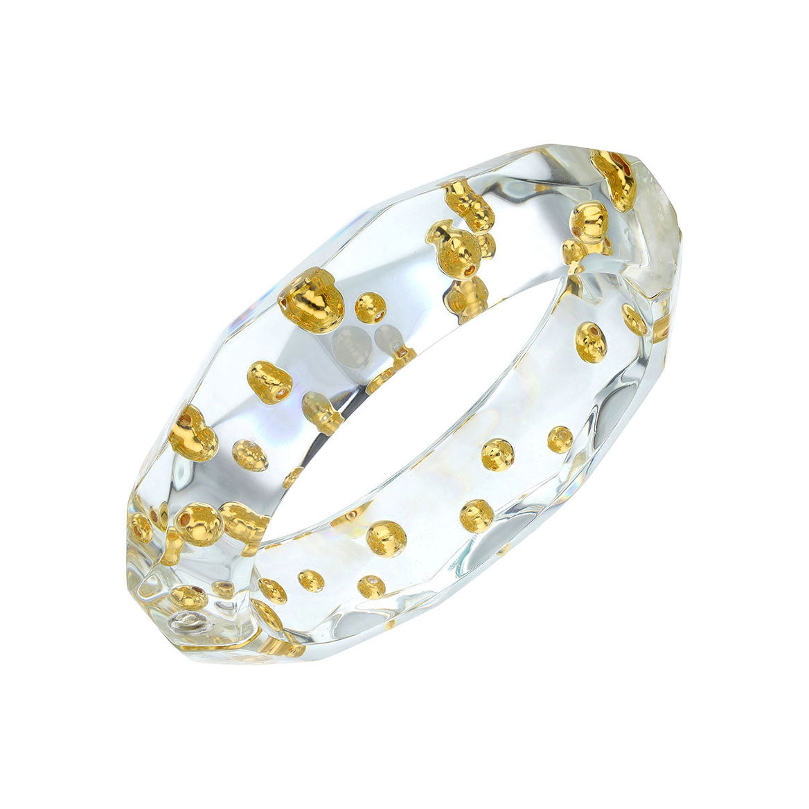 Clear Faceted Lucite Bangle with Gold Beads
